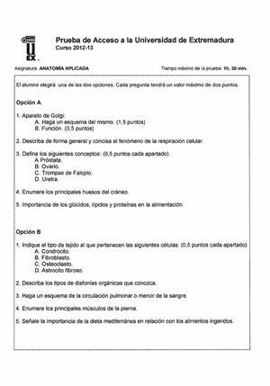 Examen de Selectividad: Anatomía aplicada. Extremadura. Convocatoria Junio 2013
