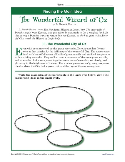Find the Main Idea: The Wonderful Wizard of Oz