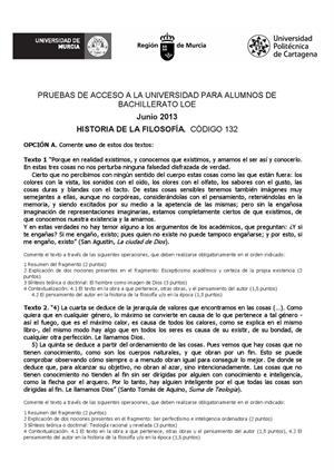 Examen de Selectividad: Historia de la filosofía. Murcia. Convocatoria Junio 2013