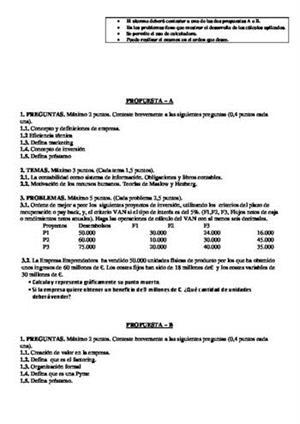 Examen de Selectividad: Economía. Castilla-La Mancha. Convocatoria Junio 2014