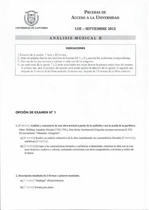 Examen de Selectividad: Análisis musical. Cantabria. Convocatoria Septiembre 2013