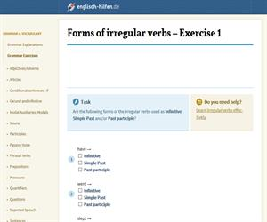 Forms of irregular verbs - Exercise 1(englisch-hilfen.de)