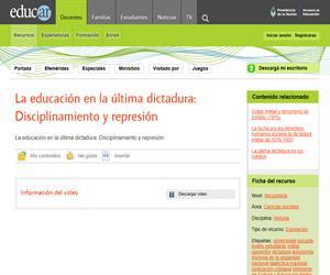 La educación en la última dictadura: Disciplinamiento y represión