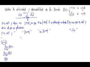 Continuidad y derivabilidad de  función (función a  trozos)