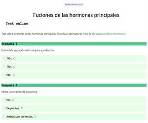 Test sobre las funciones de las hormonas principales