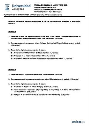 Examen de Selectividad: Literatura universal. Aragón. Convocatoria Junio 2014