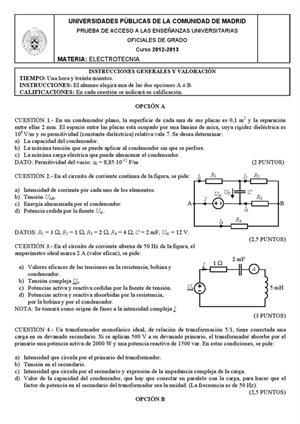 Examen de Selectividad: Electrotecnia. Madrid. Convocatoria Junio 2013