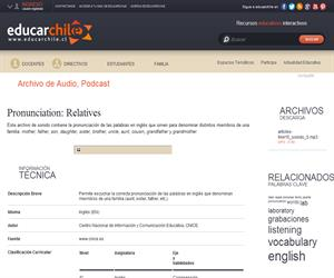 Pronunciation: Relatives (Educarchile)
