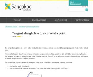Tangent straight line to a curve at a point