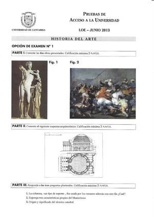 Examen de Selectividad: Historia del arte. Cantabria. Convocatoria Junio 2013