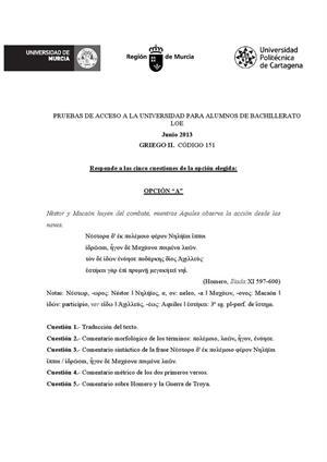 Examen de Selectividad: Griego. Murcia. Convocatoria Junio 2013