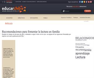Recomendaciones para fomentar la lectura en familia (Educarchile)