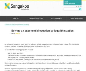 Solving an exponential equation by logarithmization