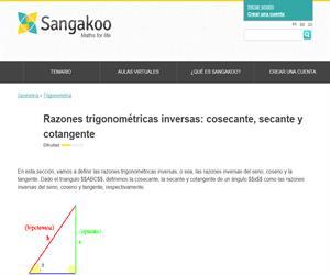 Razones trigonométricas inversas: cosecante, secante y cotangente