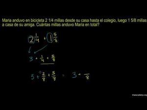 Problema escrito de suma de números mixtos (Khan Academy Español)