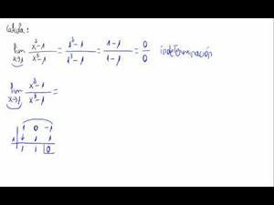 Límite de una función (0/0 en cociente de polinomios)