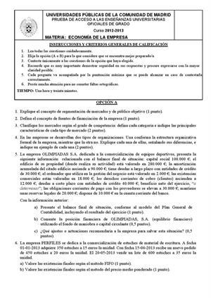 Examen de Selectividad: Economía. Madrid. Convocatoria Septiembre 2013