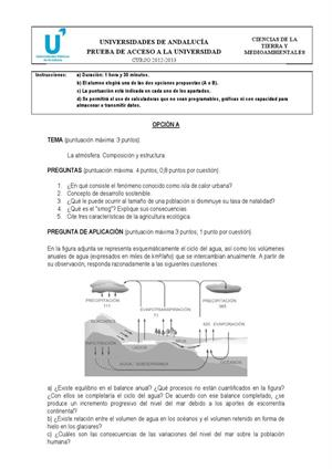 Examen de Selectividad: Ciencias de la Tierra. Andalucía. Convocatoria Septiembre 2013