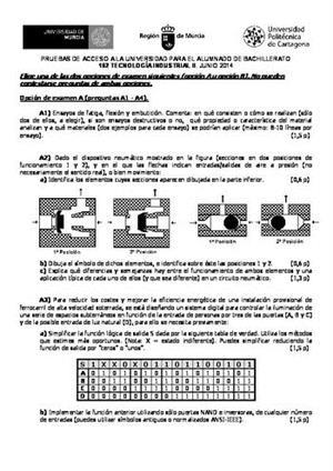 Examen de Selectividad: Tecnología industrial. Murcia. Convocatoria Junio 2014