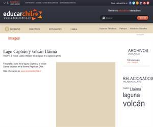 Lago Captrén y volcán Llaima (Educarchile)
