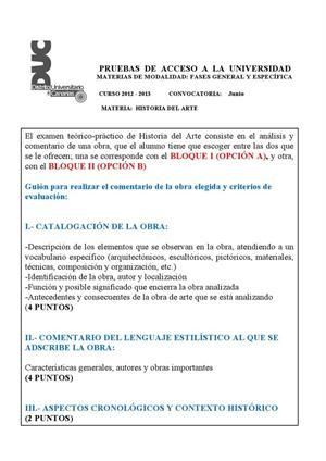 Examen de Selectividad: Historia del arte. Canarias. Convocatoria Junio 2013