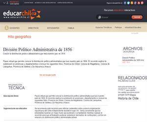 División Político Administrativa de 1856 (Educarchile)