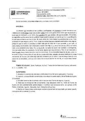 Examen de Selectividad: Historia de la filosofía. La Rioja. Convocatoria Junio 2014