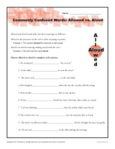 Commonly Confused Words Worksheet: Allowed vs. Aloud