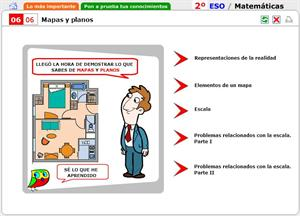 Mapas y planos. Autoevaluación. Matemáticas para 2º de Secundaria