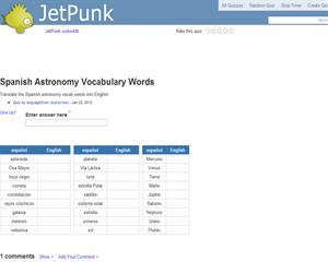 Spanish Astronomy Vocabulary Words