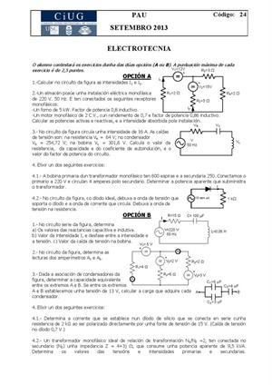 Examen de Selectividad: Electrotecnia. Galicia. Convocatoria Septiembre 2013