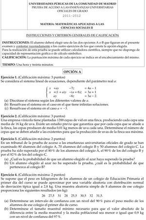 Examen de Selectividad: Matemáticas aplicadas. Comunidad de Madrid. Convocatoria Junio 2012