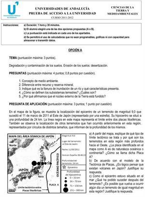 Examen de Selectividad: Ciencias de la Tierra y Medioambiente 1. Andalucía. Convocatoria Junio 2012