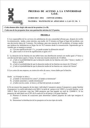 Examen de Selectividad: Matemáticas CCSS. Comunidad Canaria. Convocatoria Junio 2014