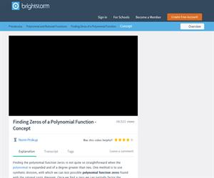 Polynomial Function Zeros