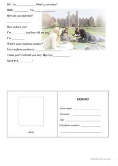 What's your name? Passport worksheet (iSLCollective)