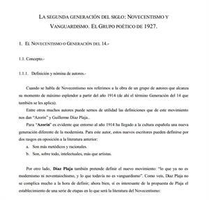 La segunda generación del siglo: Novecentismo y Vanguardismo. El grupo poético de 1927