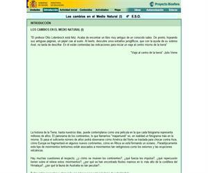 Los cambios en el medio natural (I): unidad de Biología y Geología de 4º ESO (proyecto Biosfera)