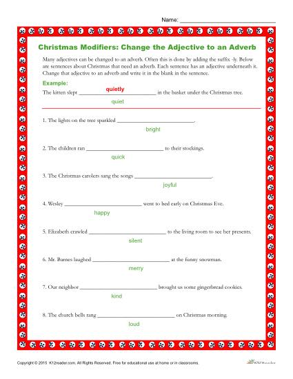 Christmas Modifiers: Change the Adjectives to Adverbs