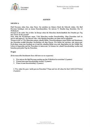 Examen de Selectividad: Alemán. Asturias. Convocatoria Junio 2013