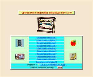 Operaciones combinadas de 1 a 10, cálculo interactivo