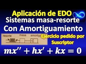 Aplicación de EDO: Sistema masa resorte con amortiguamiento, explicación y ejemplos resueltos