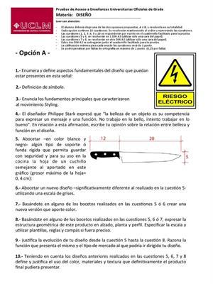 Examen de Selectividad: Diseño. Castilla-La Mancha. Convocatoria Septiembre 2013