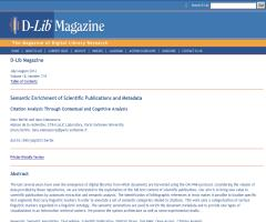 Semantic Enrichment of Scientific Publications and Metadata (D-Lib Magazine)
