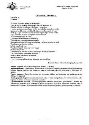 Examen de Selectividad: Literatura universal. Asturias. Convocatoria Junio 2014