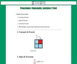 Introducció a les fraccions (concepte, lectura i test)