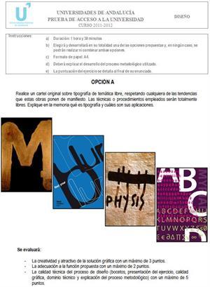 Examen de Selectividad: Diseño 2. Andalucía. Convocatoria Junio 2012