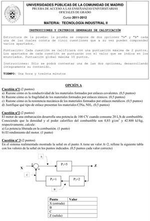 Examen de Selectividad: Tecnología Industrial. Comunidad de Madrid. Convocatoria Junio 2012