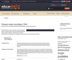 Primera mujer presidente 2006 (Educarchile)