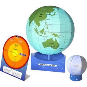 Recortable del globo terráqueo con capas de la Tierra. Arte de papel (Canon Creative Park)